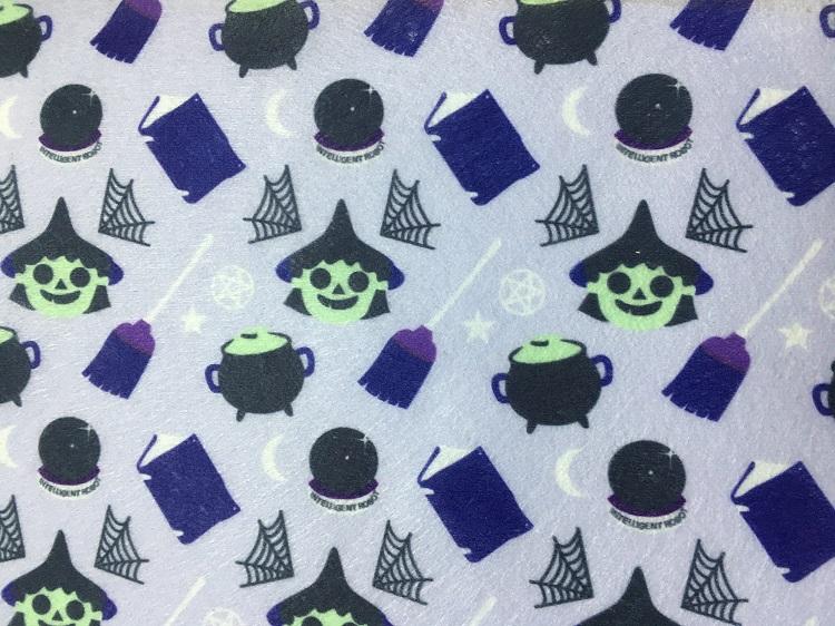 万圣节系列水刺无纺布 卡通女巫图案水刺布 口罩用布